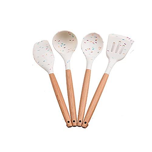 Utensilios de Cocina Silicona Set, espátula antiadherente, cuchara, pala, mango de madera, pinzas giratorias, espátula para utensilios de cocina antiadherentes (4PCS)