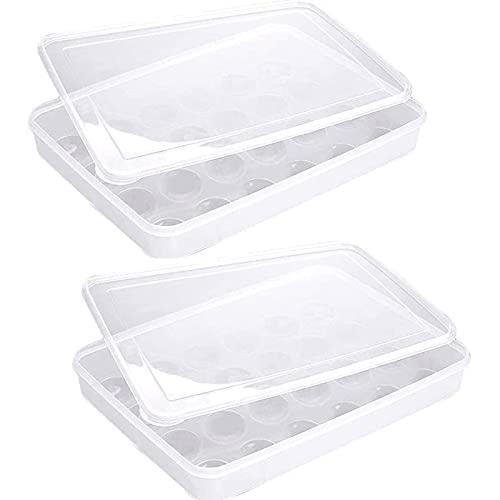 2 Piezas Contenedores de Huevos, Caja Envase para Huevos, Caja de Plástico para Huevos, para Huevos de Conservación en Nevera, Almacenamiento de Huevos de Pato (Color Transparente)
