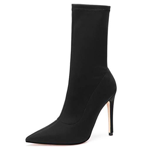 Kitulandy Damen Stiefel Stretch Stiletto High Heels Ankle Shoes Pointed Toe, Schwarz (schwarz), 40 EU