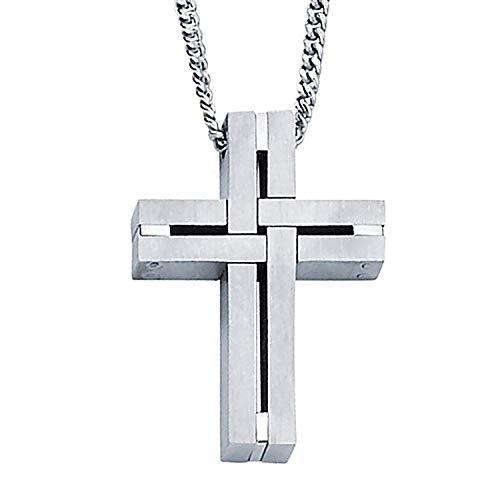 "Stainless Steel Matte Finish Interlocking Woven 1-1/4"" Men's Cross Pendant Necklace"