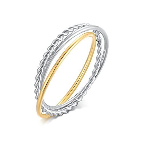 KnSam Anillo para mujer, anillo de acero inoxidable, titanio, tres anillos trenzados, anillo de compromiso, para hombre, plata y oro, Titanio.,
