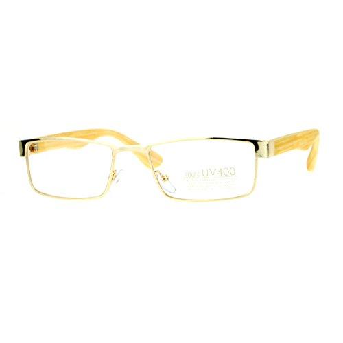 SA106 Mens Minimal Narrow Rectangular Metal Rim Wood Grain Arm Eyeglasses Gold Light