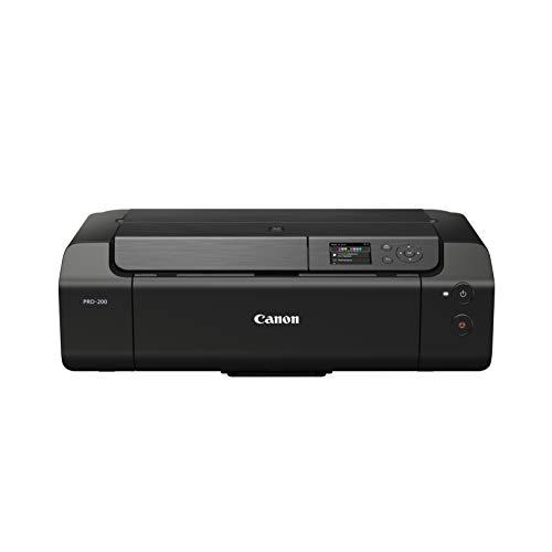 Canon PIXMA PRO-200 Farbtintenstrahldrucker Fotodrucker DIN A3+ (Hochglanzdruck, WLAN, USB 2.0, WiFi, LAN, Print App, 7,5 cm LCD Farbdisplay, 4.800 x 2.400 DPI, 8 Separate Druckertinten), grau