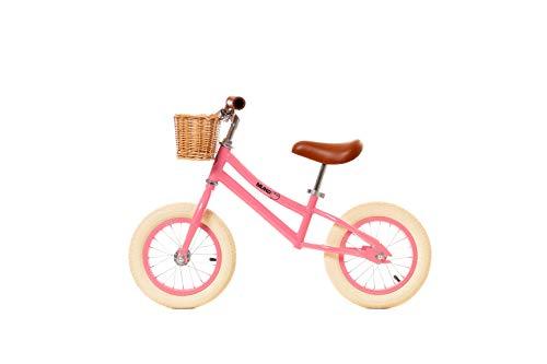 """MUNDO PETIT - Bicicleta Sin Pedales - Bicicleta Niño - Bicicleta Aprendizaje 12"""" - Incluida Cesta de Mimbre - de 2 a 5 y 6 años (Coral)"""
