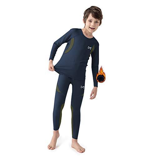 MEETYOO Biancheria Intima Termica Ragazzi, Set di Biancheria Intima da Sci Bambini Funzionale Camicia Termico Pantaloni per Running Sport Invernali