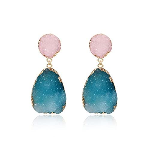 Frotox Pendientes de botón de Piedra Druzy Coloridos Pendientes de geoda de Cristal de Cuarzo Natural - Joyería de Moda