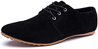 Summer Fashion Mens Suede Shoes Black/Brown/Blue Casual Man Nubuck Leather Shoes Leisure Men Flats Chaussure Homme(Blue,11.5)