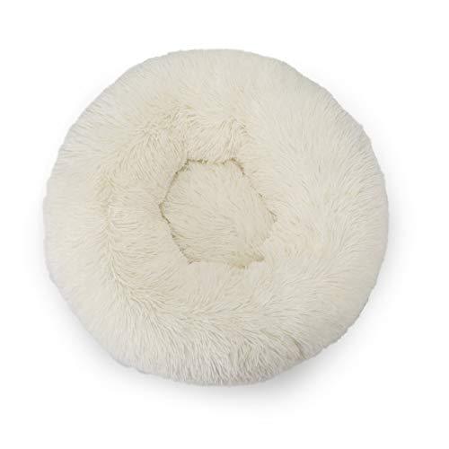 QBLDX Plush Donut Dog's Cat's Bed ,round Warm Cuddler Kennel Soft Puppy Sofa Cat Cushion Bed, Plush Anti-slip Bottom Calming Nest Bed,Beige-XXS