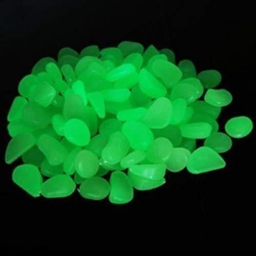 YSD, ciottoli artificiali fluorescenti di colore verde, pietre luminose decorative per il vialetto del giardino, il cortile, una fontana o un acquario, 100 pezzi