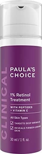 Paula's Choice CLINICAL 1% Retinol Treatment Cream with Peptides, Vitamin C & Licorice Extract, Anti-Aging & Wrinkles, 1 Ounce