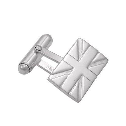 Boutons de Manchette Drapeaux Anglais en Argent 925/1000 - A Tête Pivotante