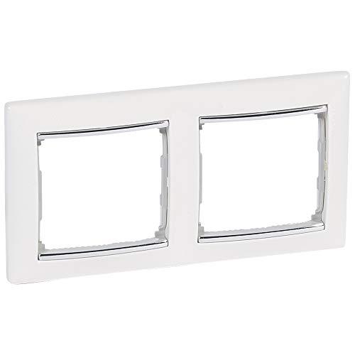 Placa valena, 2 elementos, montaje horizontal, blanco y plata (Legrand 770492)