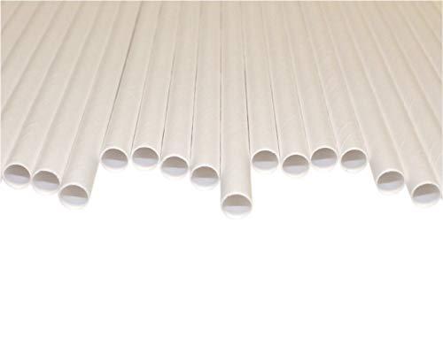 Pajitas de Papel Blanco (8mm x 200mm) - 500 Unidades - Pajitas de Papel Biodegradables, Respetuoso con el Medio Ambiente, Altamente Durable, Ideal Para Batidos
