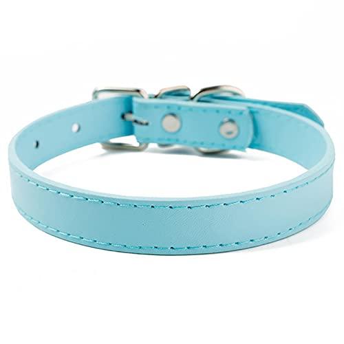 Collar de Cuero de PU para Perros, Ajustable, cómodo, Accesorios para Perros, Azul Cielo, XS