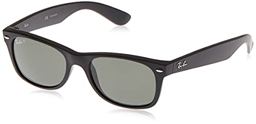 Ray-Ban RB2132 New Wayfarer Sunglasses, Black Rubber/Polarized Green, 55 mm