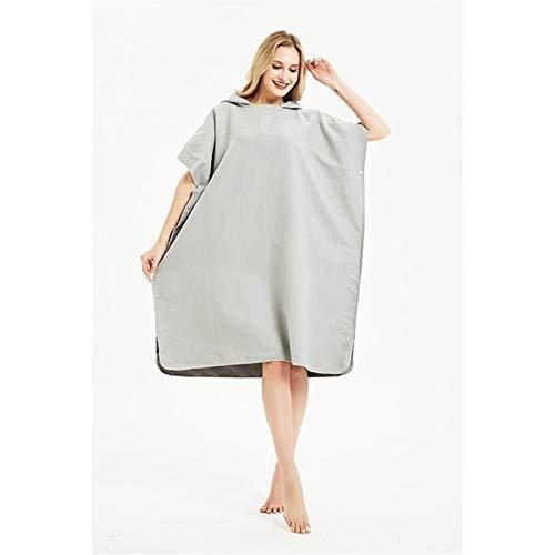 YANODA Soft Mikrofaser Quick Dry Wetsuit Ändern Robe Poncho Handtuch Mit Kapuze for Schwimmen, Strand, Leicht, Beach Surf Poncho Tragbar (Color : Grey, Size : 90x105cm)
