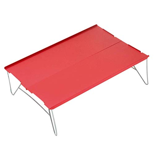 chaozhi Mesa Plegable portátil para Senderismo al Aire Libre, Mesa de Comedor de Picnic de Barbacoa de aleación de Aluminio, Mesa de Camping de Superficie Lisa y Duradera-Red