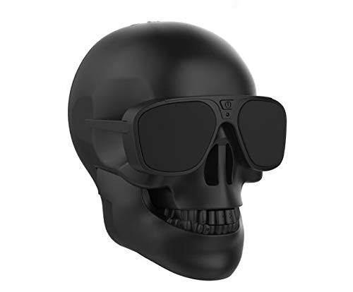 Mingyuan Skull Bluetooth Speaker with Head Shape Portable Wireless Speaker for Desktop PC/Laptop Notebook/Mobile Phone/MP3/MP4 Player-Black