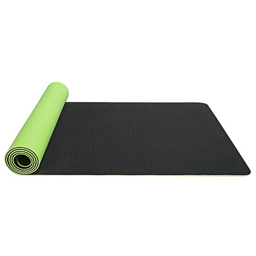 Andouy Yogamatte Fußmatten aus Hochdichtem Schaumstoff rutschfest Zweifarbig Trainingsmatte – 183X61X0,6CM – für Gym Yoga Sport Gymnastik Fitness Pilates(183X61X0.6CM.Schwarz)