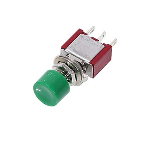 Interruptor basculante 5pcs 3pin C-NO-NC 6MM Mini Momento Automático de Retorno automático Interruptor de pulsador ON- (ON) 2A 250VAC / 5A Switches de Palanca de 120VAC (Color : Green)