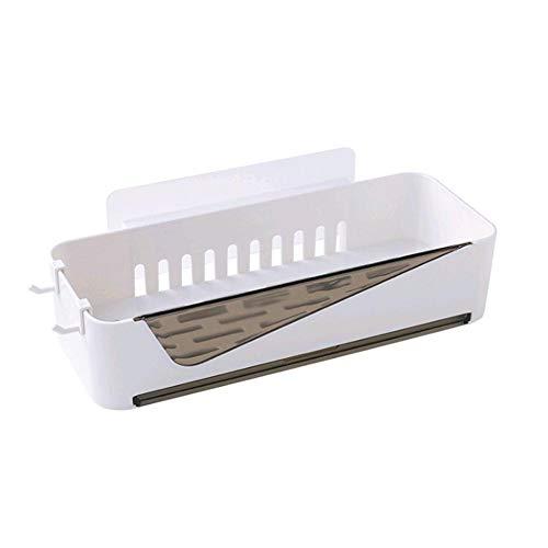 Eillybird multifunctioneel huishoudrek wastafel Free Punch Storage Rack aan de muur gemonteerde badkameraccessoires kunststof planken wit 11,81 4,53 2,76 inch