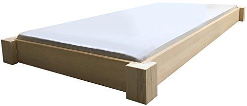 LIEGEWERK Bodentiefes Designbett Massivholzbett Bett Holz massiv 90 100 120 140 160 180 200 x 200cm hergestellt in BRD (100 cm x 200cm)
