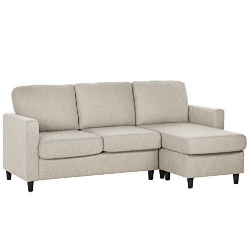 Convertible Sectional Sofa Couch for Small Space, L Shaped Couch with Modern Linen Fabric and Wood Frame, Small 3- Seater Sectional Sofa for Living Room Apartment