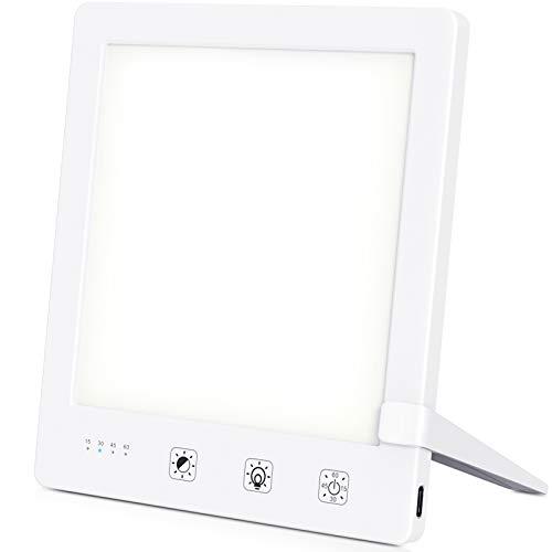 Tageslichtlampe, Lichttherapielampe 10000 Lux Tageslicht, LED Sonnenlicht Daylight Lampe Tageslichtleuchte mit Stufenlosem Dimmer, UV-frei Vollspektrumlampe, Sonnenlicht Lampe [Energieklasse A+] Mini