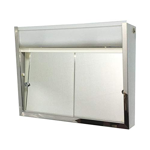 """Cabinets Surface Mounted Sliding Door Steel Medicine Cabinet with Light - 24"""" w X 19"""" h Modern Contemporary"""