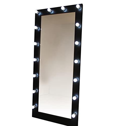 Espejo de pared con Luz LED Cuerpo Entero 80X180, Negro Espejo con Luz, Espejo de Pared, Espejo Maquillaje con Luz, Espejos Grande de Pared, Espejo con Luces para Mujer Espejo Grande LED, Espejo Pared