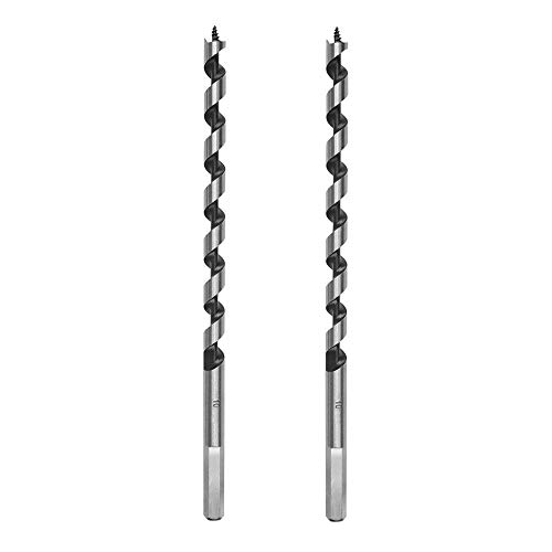 "LDEXIN 2pcs Wood Carpenter Hex Shank Brad Point Augers Drill Bits Long Combination Wood Carpenter Bit,10mm/ 3/8"" Twist Dia 9.05"" Length"