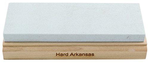 RH PREYDA Hard Arkansas Schleifstein, Körnung 800-1000, Stein 150x50x12 mm, Holzplattform