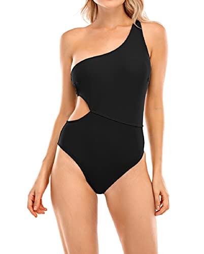 Yuson Girl Monospalla Bikini Donna Sexy, Costumi da Bagno Bikini, Swimsuit Bikini Push up, One Piece Monokini Attraverso Spalla Beachwear, Pizzo Cutout Costume Donna Mare Spiaggia