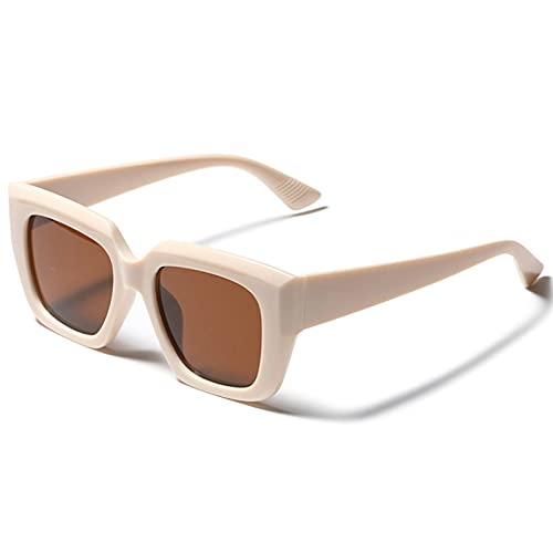LUOXUEFEI Gafas De Sol Gafas De Sol Femeninas Marrones Blancas Cuadradas AnteojosSeñoras Mujeres