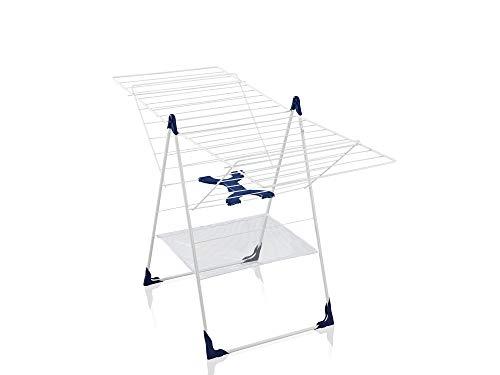 Leifheit Séchoir sur pied Classic 250 Flex, étendoir avec filet à linge, tancarville pliable et résistant aux intempéries, longueur d'étendage de 25 m