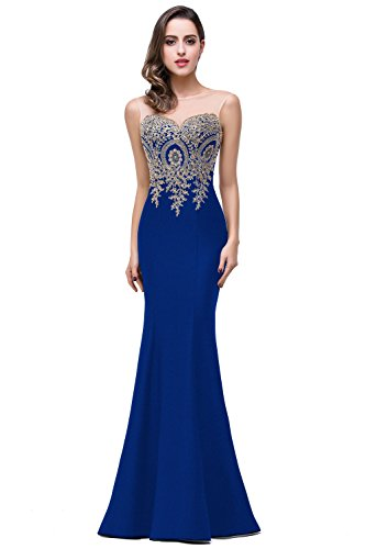 Elegant Mermaid Style Floral Lace Stretch Long Evening Prom Party Dress, 6, Royal Blue