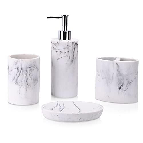 zccz Badezimmer-Zubehör-Set, 4-teilig, Marmor-Optik, Badezimmer-Zubehör, mit Seifenspender, Zahnbürstenhalter, Badezimmer-Becher, Seifenschale
