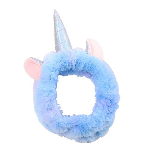 JiuErDP Cara Banda for el Cabello Lavado ▏ Unicornio Banda for el Cabello Lavado de Cara Diadema Diadema ▏ Maquillaje Divertido Lindo de la Historieta de la Venda Diademas (Color : Blue)