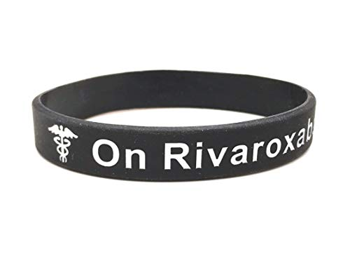 On Rivaroxaban wristband medical alert ID bracelet black white mens ladies silicone band by Butler & Grace.