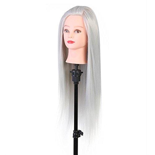 Cabeza Peluqueria practicas Formación muñeca de la cosmetología Cabeza Maniquí para aprendizaje prácticas de peluquerías (gris)