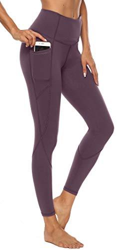 Persit Damen Yoga Leggings, Sport Tights Leggins Yogahose Sporthose für Damen Rotlila-M
