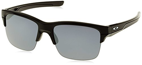 Oakley Men's Thinlink Non-polarized Iridium Rectangular Sunglasses, Polished Black, 62.3 mm
