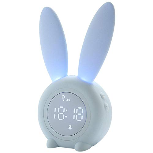 FPRW wekker met nachtlampje, multifunctionele klok in hazenvorm met nachtdisplay, wekker met slaaptrainer voor kinderen, blauw (6,9 x 3,7 x 2,55 inch)