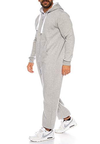 Raff & Taff Herren Jumpsuit Overall Trainingsanzug Fitnessbekleidung Onesie Ganzkörperanzug Basic und Schlicht (Hellgrau, 4XL) - 2
