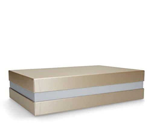 Hochwertige Premium+ Geschenkbox - Geschenkverpackung Made in Germany (Gold, Silber, Gold) 33x8x22 cm