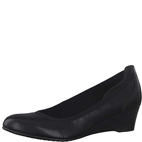 Tamaris Damen Pumps, Frauen Keilpumps, Keilabsatz Wedge-Pumps modisch bequem Fashion weiblich Lady Ladies Women's Women Woman,Black,36 EU / 3.5 UK