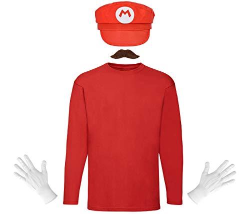Alsino Mario und Luigi Komplettset Kostüm Herren Damen Kv-245 Verkleidung Outfit Accessoires mit Mütze Pullover Klebe Bart Schnurrbart Handschuhe Weiß Fasching Karneval Hut (rot, XL)