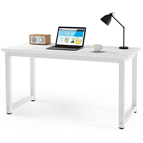 OUBLANC Modern Simple Design Computer Desk Table Workstation for Small Space Place Home Office Writing Table, (White)