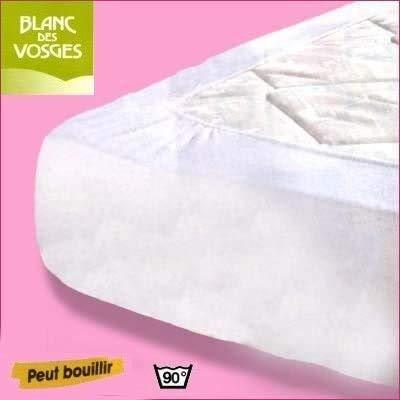 Blanc des Vosges Protège Matelas 160/200 Bonnet 40 CM - Molleton 100% Coton