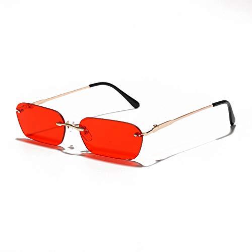 ShZyywrl Gafas De Sol De Moda Unisex Gafas De Sol Pequeñas Sin Montura De Moda para Mujer, Gafas De Sol Steampunk Rectangulares, Gafas Cuadradas Vintage para H